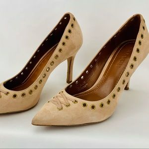 COACH Suede leather Tan nude Pumps Heels S…